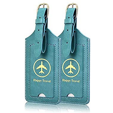 Luggage Tags, ACdream Leather Case Luggage Bag Tags Travel Tags 2 Pieces Set, Sky Blue