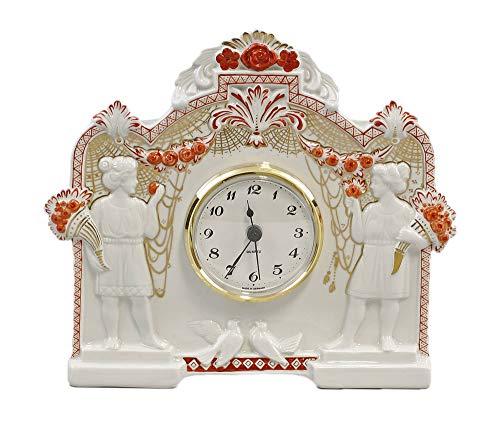 Kämmer Porzellan - Uhr Jugendstil rot