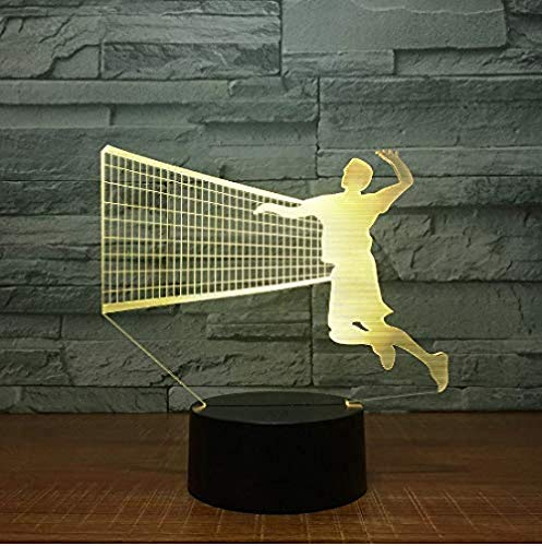 LED Night Light Men Volleybal blok 3D LED lamp 7 kleuren LED nachtlampen voor kinderen Touch LED USB tafellamp baby slaap nacht Light 3D loper
