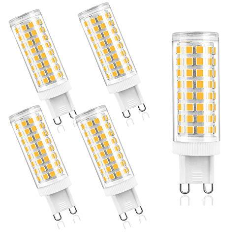ZJYX Bombilla LED G9 10W Equivalente a 100 W Halógena, Blanco cálido 3000K, 1000LM, 360 ° ángulo de Haz, Regulable, AC 100-240V, Ultra Brillante LED Bombillas, Paquete de 5 Unidades