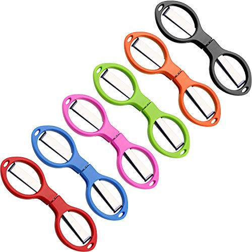 Tatuo 6 Stücke Edelstahl Schere Anti-Rost Faltschere Brillenförmige Mini Schere für Haus und Reise Verschwendung (5 Farben)