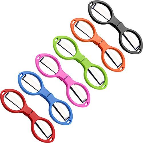 6 Piezas de Tijeras de Acero Inoxidable Plegables Antióxido Mini Cizalla en Forma de Gafas para Uso de Hogar y Viaje (6 Colores)