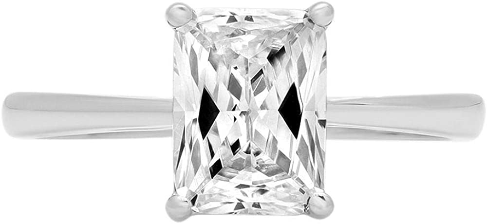 1.9ct Brilliant Emerald Cut Solitaire Stunning Genuine Lab Created White Sapphire Ideal VVS1 D 4-Prong Engagement Wedding Bridal Promise Anniversary Ring Solid 14k White Gold for Women