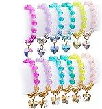 Tacobear 12Pièce Bracelet Fille Bracelet Amitié Bracelet Charms Cristal Bracelets de Perles Papillon Cœur Pendentif Princesse Bijoux Anniversaire Cadeau de Fête pour Enfant Fille