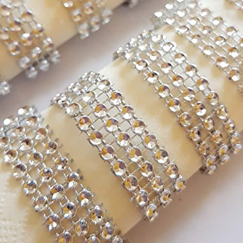 generisch 12 Stück Serviettenring Strassoptik 3 reihig Silber, Hochzeit, Taufe, Tischdeko
