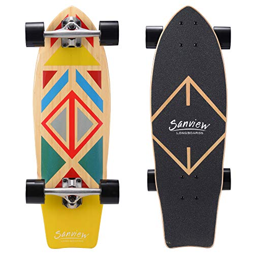 "SANVIEW 28"" Bamboo Longboard Skateboard Cruiser for Kids Adults Geometry"