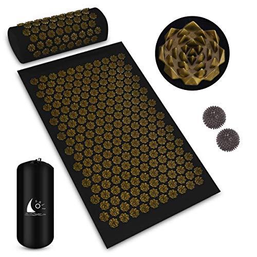 Osail Akupressurmatte und Kissen-Set mit 2-teiligen Stachelmassagekugeln, Yogamatte mit Kissenrückenmatte für Massage & Schmerzlinderung & Stressabbau mit Tragetasche (Golden)