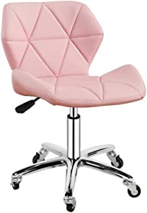 ZHJBD Furniture Stool Backrest Chair Adjustable Leather Bar Stool Chair with Wheels and Back Office Task Chairs Swivel Chairs Pink