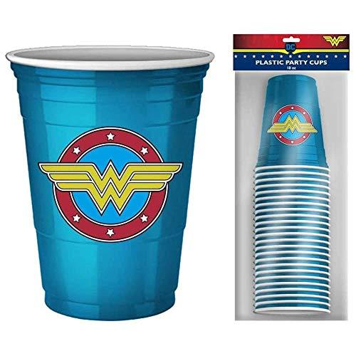 Wonder Woman DC Comics Logo 18oz Disposable Plastic Party Cups | 20 Pack