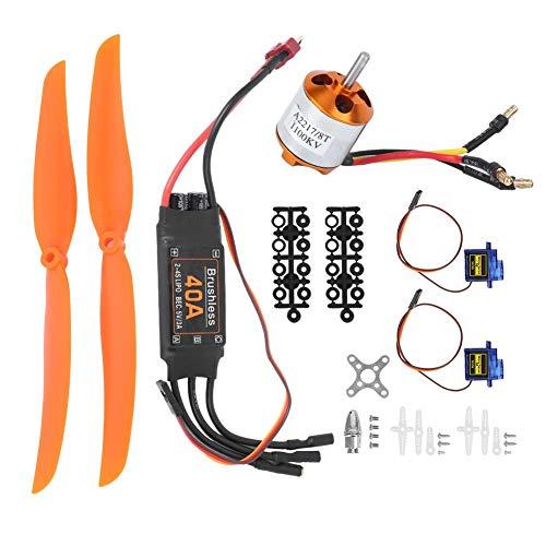Dilwe RC Airplane Power Kit, bürstenloser 1100-kV-Motor 40A ESC SG90 9G Micro Servo 1060 Propeller Kompatibel mit RC Plane(1100KV Motor + 40A ESC + 9G Servo + 1060 Propeller)