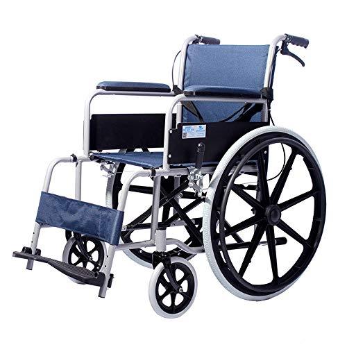 Opvouwbare rolstoel van aluminiumlegering, inklapbare draagbare handmatige rolstoel, 360% draaibaar, geschikt voor de hoeveelheid: ouderen, gehandicapten, (108 × 66 × 89,5 cm) voor mindervaliden ouderen