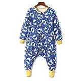 ZEBZOO Toddler Kids Wearable Blanket Sleeper with Feet Boys Sleeping Bag Shark Double Layered Cotton Sack S