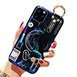 Aulzaju Compatible iPhone 12 Pro Max Kickstand Case for Men Women iPhone 12 Pro Max Cute Cool Durable Camera Design Case with Wrist Strap Band iPhone 12 Pro Max Fashion Stand Cover with Ring Holder