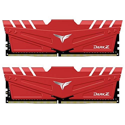 TEAMGROUP T-Force Dark Z 16GB Kit (2x8GB) DDR4 Dram 3200MHz (PC4-25600) CL16 288-Pin Desktop Memory Module Ram (Red) - TDZRD416G3200HC16CDC01