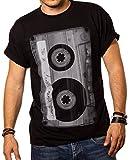 Cooles Musik T-Shirt mit Motiv Tape Kassette schwarz Männer XXXL