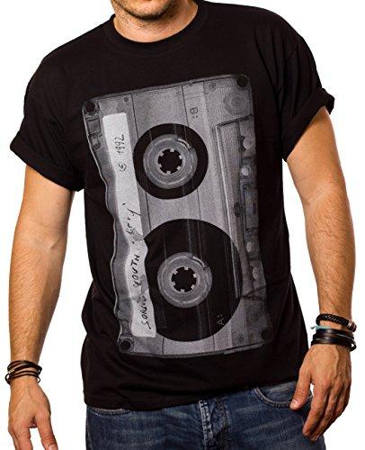 Cooles Musik T-Shirt mit Motiv Tape Kassette schwarz Männer XL