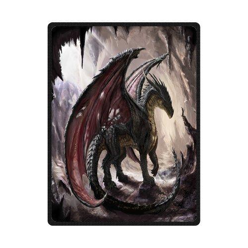 Daniellestore Soft Bed sheet Plush Throw Blanket Bedding Sleep Dragon in Cave 58 x 80 Inch