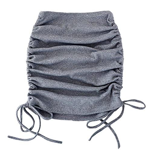 Abkaeh Falda Plisada de Verano Falda de Mujer con Textura de Punto elástico Medio Largo con Retazos de Encaje Lateral Cintura Alta LG031-Gris_L