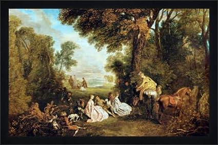 Tableau Avec Cadre Jean Antoine Watteau Le Rendezvous De Chasse 58 X 37 Bois Fortuna L Noir Mate De Soie Amazon Fr Cuisine Maison