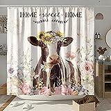DESIHOM Farmhouse Kuh Duschvorhang Bauernhof Tier Duschvorhang Holz Duschvorhang rustikale Duschvorhänge für Badezimmer Polyester 183 x 183 cm