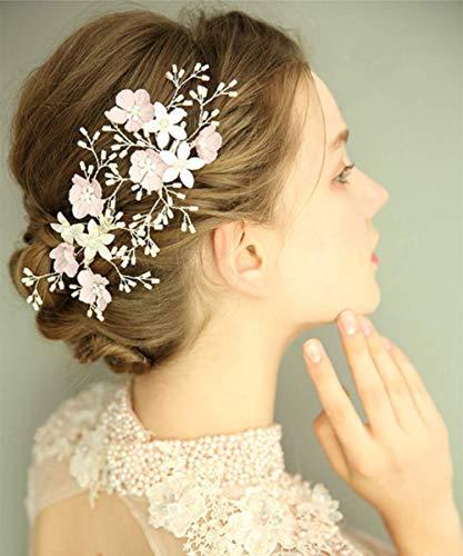 Deniferymakeup 2 stks Handgemaakte Bruidssieraden Bloem Rijst Kralen Haar Clips Bruids Haar Clips Bruiloft Hoofdstuk Bruiloft Haaraccessoires ZILVER