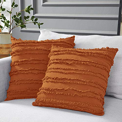 Longhui bedding Burnt Orange Throw Pillow Covers for Couch Sofa Bed, Cotton Linen Decorative Pillows Cushion Covers, 20 x 20 inches, Set of 2