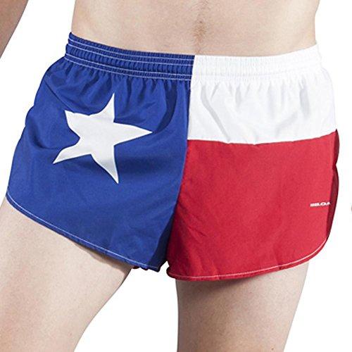 BOA Men's 1' Elite Split Leg Texas Flag Running Short(1042) (Texas, Small)