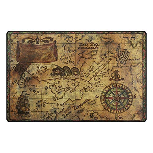 ALAZA Vintage Retro Old Pirate Map Compass Area Rugs Non-Slip Floor Mat for Living Room Bedroom Home Decor
