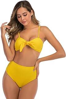 Women's Bikini Sets Textured Removable Strap Bandeau Two Piece Swimsuit High Waisted Bathing Suit Solid Color 2 Piece Swim...