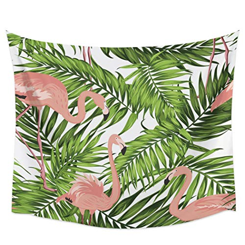 BABE MAPS Pink Flamingo Tapestry for Home Decor, Exquisite Wall Hanging Tapestry, Wall Blanket for Bedroom Living Room Dorm Decor 55x73inch - Palm Tree Leaf Tropical Rainforest