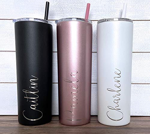 Personalized Tumbler - Laser Engraved - 20 oz Stainless Steel Skinny Tumbler - Includes Straw and Lid - Vacuum Insulated - Personalized Gift for Bride, Bridal Party, Birthday, Mothers Day, Teacher