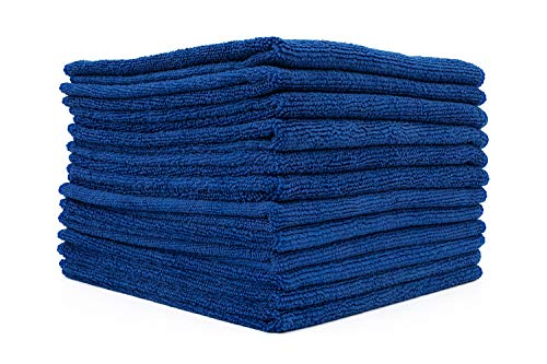 The Rag Company (12-Pack) 12 in. x 12 in. Commercial Grade All-Purpose Microfiber Highly Absorbent, LINT-Free, Streak-Free Cleaning Towels (Royal Blue)