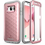 Clayco Funda Galaxy S7 Edge [Hera Series] Case Resistente con Protector de Pantalla Integrado para Samsung Galaxy S7 Edge (Version 2016) Rosado