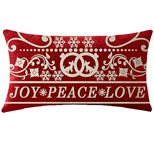 NIDITW Happy Winter Joy Peace Love Merry Christmas Beautiful Floral Chihuahua Snowflakes Waist Lumbar Red Cotton Burlap Linen Throw Pillow case Cushion Cover Sofa Decorative Oblong Long 12X20 Inches