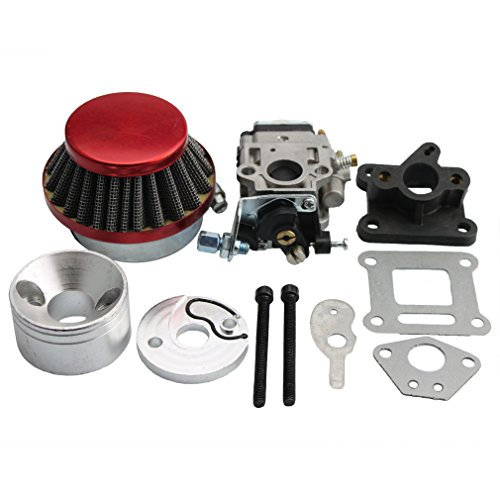 GOOFIT 15mm Racing Carburador Kit Carb Filtro de aire Pila 49cc Mini ATV bici de la suciedad de bolsillo