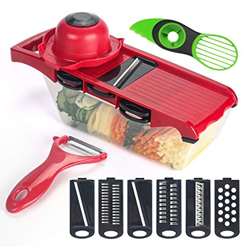 Vegetable Chopper, Universal Kitchen Stuff Food Slicer And Cutter with 7 Blades,for Onions Potatoes Tomatoes or Fruits Dicers(Red)