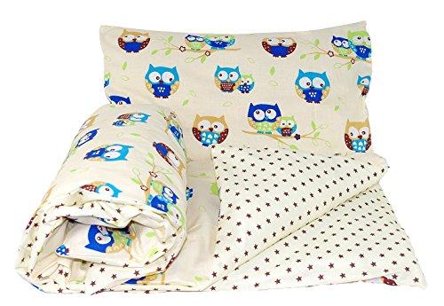 Baby's Comfort - Set di biancheria da letto per bambino, 2 pezzi, con copripiumino reversibile + federa