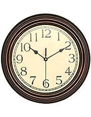 1 PC 12-Inch Round Classic Clock Non Ticking Decorative Wall Clock(Bronze)