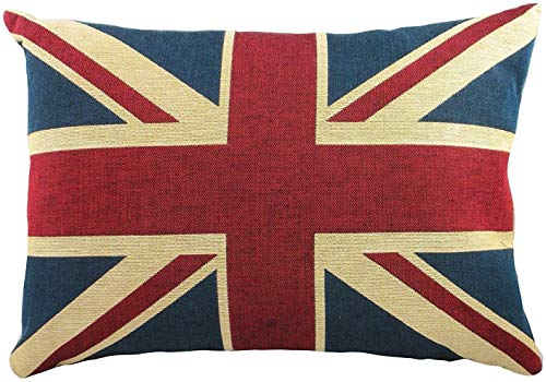 Tamengi 12 x 20 Inches Quality Linen/cotton Fabric British Vintage Style Union Jack Flag Lumbar Pillow Cover Kidney Pillowcase