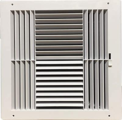 """HBW Four-Way Plastic Side Wall/Ceiling Register in White 12"""" w X 12"""" h for Duct Opening (Outside Dimension is 14"""" w X 14"""" h)"""