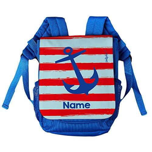 Striefchen® Kinder-Rucksack mit Namen - maritimer Anker - ideal für den Kindergarten