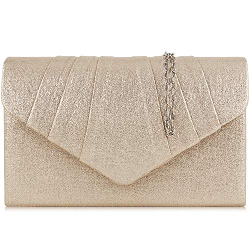 Milisente Women Evening Bag PU Leather Pleated Clutch Purse Envelope Clutches (Champagne)