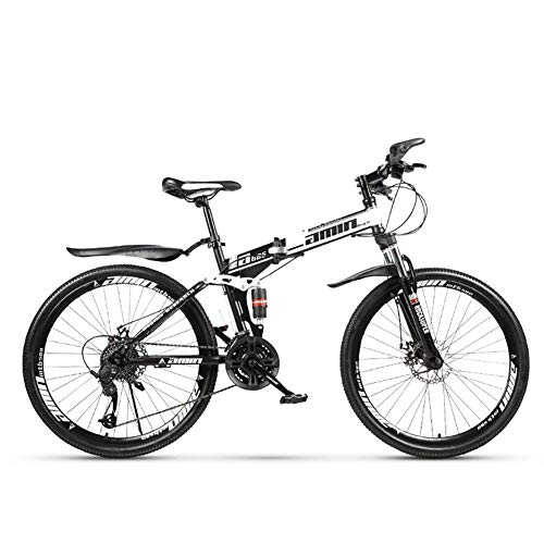 SCYDAO Foldable Mountain Bike, 26 Inch 21/24/27/30 Speed Four Color Options, Double Disc Brake Suspension Fork Rear Suspension Anti-Slip Bikes, Full Suspension Mountain Bike,White,21 Speed