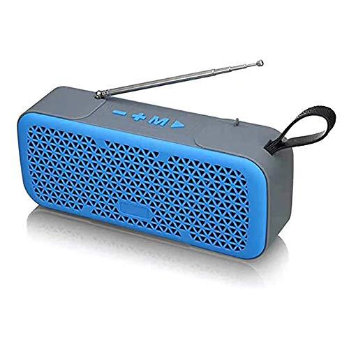 Zks Portable Radio, Bluetooth 4.0 Rétro Haut-Parleur Radio Haut-Parleur Stéréo avec Port USB Et AUX Port De Sortie pour Marche Randonnée Camping Walkman Pocket,Bleu