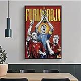 Weiqiaolian Póster de fútbol España Xavi, Casillas, Iniesta Manga para decoración de fanáticos de la pintura HD en lienzo para decoración del hogar (60 x 80 cm) - 60 x 32 pulgadas sin marco