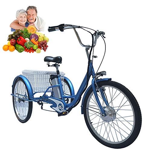 Triciclo para Adultos Bicicleta eléctrica de 3 Ruedas para Damas Bicicleta eléctrica de 24 \'\' con Carrito Trasero Canasta Canasta de Alimentos Salida de Compras Regalo para Padres Mano de Obra