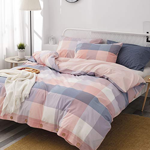 TEWENE 100% Cotton Duvet Cover Set,3 Pieces Queen Bedding Duvet Cover Sets,Ultra Soft and Breathable Comforter Cover Set with Buttons Closure & Corner Ties -No Comforter(Pink Mix Color Plaid,Queen)