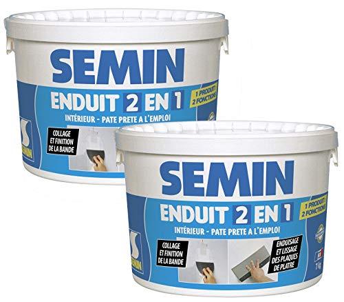 Semin A06057 Enduit 2 en 1 Multifonctions - Joint et Lissage de la Plaque de Plâtre, Intérieur, Seau de 7 kg (Lot de 2)