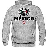 Shirt Happenz Fútbol México V2 Sudadera con Capucha | Hombre | Fútbol | Equipo Nacional | Selección Nacional | México | El Tri | Hoody, Colour:Greymelange;Size:Medium