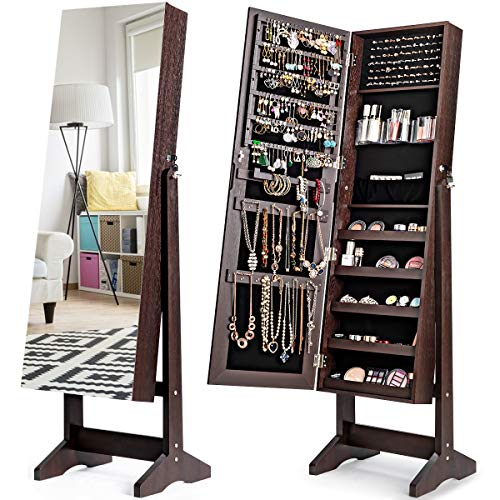 CHARMAID Jewelry Armoire Cabinet with Frameless Full Length Mirror, Standing Lockable Wooden Jewelry Organizer Storage Box with Large Capacity, 4 Angel Adjustable (Brown)